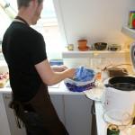 Preparing the shrimps