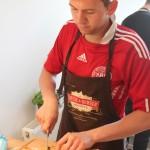 Preparing the New Orleans burger
